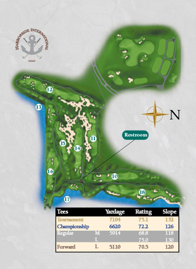 Overview of the back nine on the Starboard Course at Harborside International Golf Center
